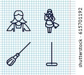 set of 4 maid outline icons... | Shutterstock .eps vector #615701192