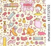 bubble gum vector seamless... | Shutterstock .eps vector #615713702
