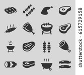 barbecue icons set. set of 16... | Shutterstock .eps vector #615729158