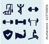 set of 9 strong filled icons... | Shutterstock .eps vector #615730856