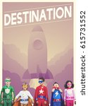 Small photo of Group of superheroes kids with aspiration word graphic