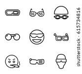 glasses icons set. set of 9... | Shutterstock .eps vector #615734816