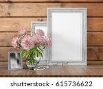 mock up blank frame. 3d... | Shutterstock . vector #615736622
