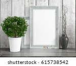 mock up blank frame. 3d... | Shutterstock . vector #615738542
