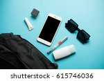 flat lay of black woman bag... | Shutterstock . vector #615746036