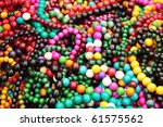 Collection of wooden many-colored adornments for the women - stock photo
