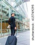 business woman walking by...   Shutterstock . vector #615769295