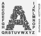 black abstract font with tweak... | Shutterstock .eps vector #615776318