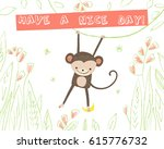 cute monkey with banana and... | Shutterstock .eps vector #615776732