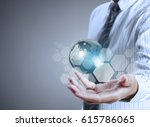 globe  earth in human hand ... | Shutterstock . vector #615786065