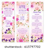 spring sale vector banners with ... | Shutterstock .eps vector #615797702