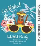 aloha party invitation card | Shutterstock .eps vector #615800402
