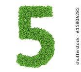 3d Green Leaves Letter Five On...