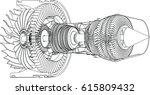 Jet Engine Isometrics. Vector...