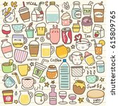 Set Of Cute Drink Doodle