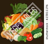 vegetables. color version. flat ... | Shutterstock .eps vector #615811196