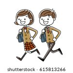 male students and girls... | Shutterstock .eps vector #615813266