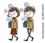 male students and girls... | Shutterstock .eps vector #615813305