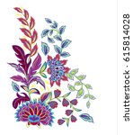 vintage flowers embroidery... | Shutterstock .eps vector #615814028