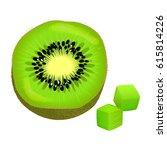 sliced on half and diced kiwi....   Shutterstock .eps vector #615814226
