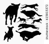 Stock vector fast running and jumping dog silhouette set collection 615815372