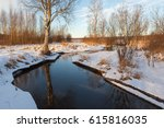 snowy coast forest river.... | Shutterstock . vector #615816035