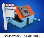 3d illustration of block house... | Shutterstock . vector #615817088