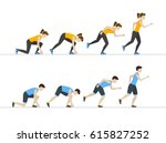 running woman and man step by... | Shutterstock .eps vector #615827252