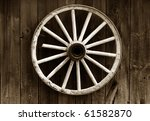 Rustic Wagon Wheel Hanging On ...