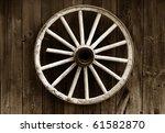 Rustic Wagon Wheel Hanging On ...