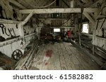 inside of a heritage tool shed - stock photo