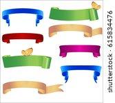 set ribbon banner. ribbon... | Shutterstock .eps vector #615834476
