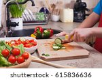 child hands chopping vegetables ... | Shutterstock . vector #615836636
