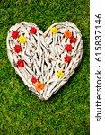 Driftwood Heart On Grass...