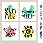 four bright summer cards on... | Shutterstock .eps vector #615840806