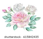 watercolor roses | Shutterstock . vector #615842435
