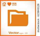 flat icon of folder | Shutterstock .eps vector #615843128