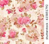 seamless vintage floral torn... | Shutterstock . vector #615851792