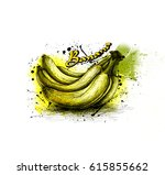 delicious banana with signature | Shutterstock . vector #615855662