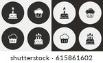 cake vector icons set.... | Shutterstock .eps vector #615861602