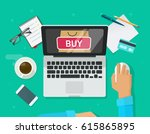 online shopping concept... | Shutterstock . vector #615865895
