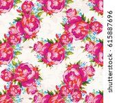 seamless floral pattern with... | Shutterstock .eps vector #615887696