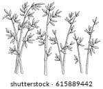 bamboo plant graphic black... | Shutterstock .eps vector #615889442