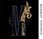 """baroque letter """"m""""   Shutterstock .eps vector #615896168"""