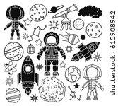 cosmonautics  space cartoon set.... | Shutterstock .eps vector #615908942