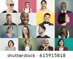 diverse people smiling... | Shutterstock . vector #615915818
