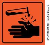 chemical hazard warning sign.... | Shutterstock .eps vector #615916178