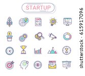 start up icons set. flat line...   Shutterstock .eps vector #615917096