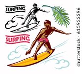 surfer vector man new wave and... | Shutterstock .eps vector #615923396