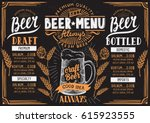 Stock vector beer menu for restaurant and cafe design template with hand drawn graphic elements in doodle style 615923555
